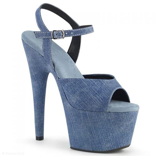 Denim sandalen met naaldhak en plateau | Plateau sandaletten in jeans