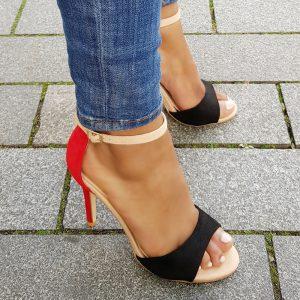 Multicolour sandalen met hoge hak in rood | beige | zwart - Silhouette