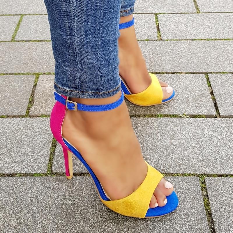 Fel gekleurde sandalen met hoge hak in geel | roze | kobaltblauw