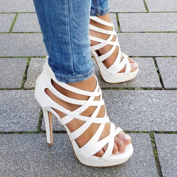Witte hoge hakken met bandjes | Open hoge hakken wit | Witte heels