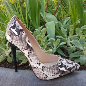 Snake print pumps zwart wit met naaldhak | Snakeprint hakken | Silhouette