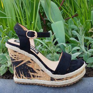 Zwarte sandalen met kurklook sleehak in kleine maten | Silhouette R'dam