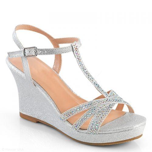 Zilveren sleehak strass | Glitter sleehak zilver | Zilverkleurige sleehak