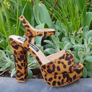 Luipaardprint hakken | Luipaard print sandalen met blokhak | Silhouette