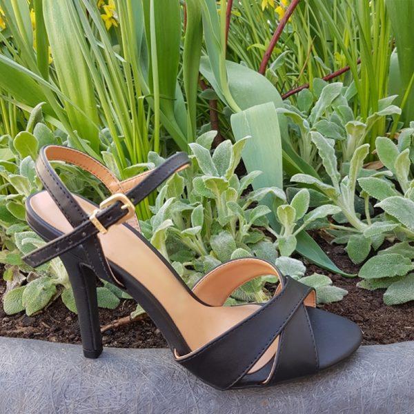 Zwarte sandalen met naaldhak | Zwarte sandalen met hak 10 cm