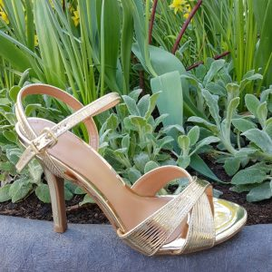 Gouden sandalen met naaldhak | Gouden sandalen met hoge hak