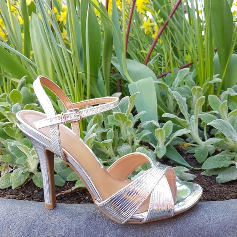 Zilveren sandalen met naaldhak | Sandalen met hoge hak zilver metallic
