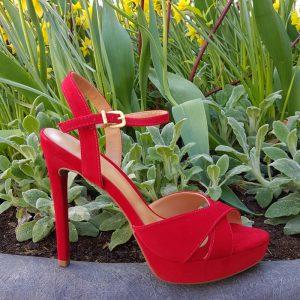 Rode sandalen met naaldhak | Sandalen in rood met hoge hak