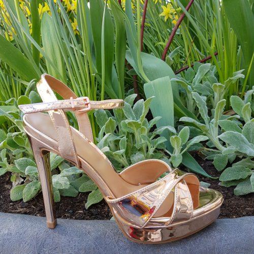 Roze goud metallic sandalen met naaldhak | Sandalen rose gold metallic