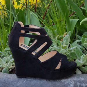 Hoge sleehakken zwart open teen | Comfortabele sleehakken in zwart