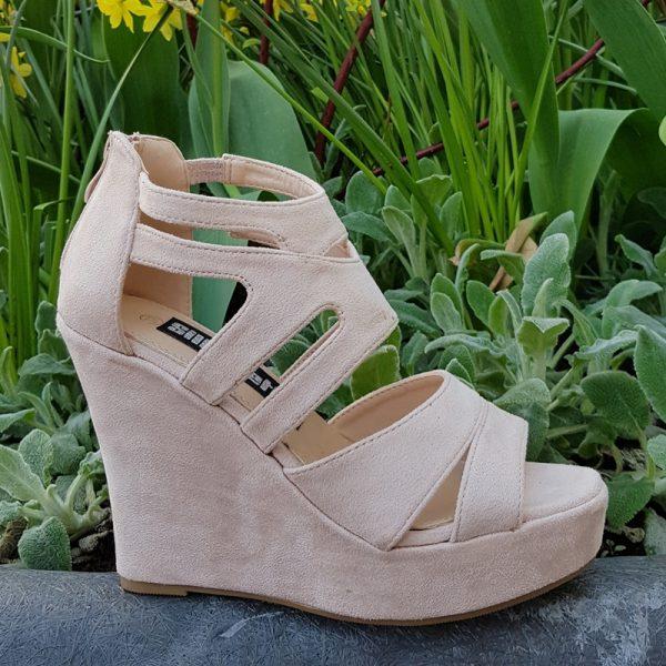 Sandalen sleehak beige | Sleehakken huidskleur | Beige open sleehakken