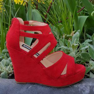 Hoge sleehakken rood open teen | Comfortabele sleehakken in rood