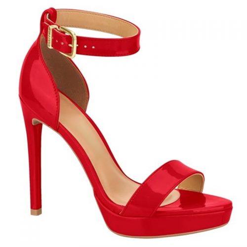 Rode sandalen hoge hak met bandje | Sandalen in rood lak met naaldhak