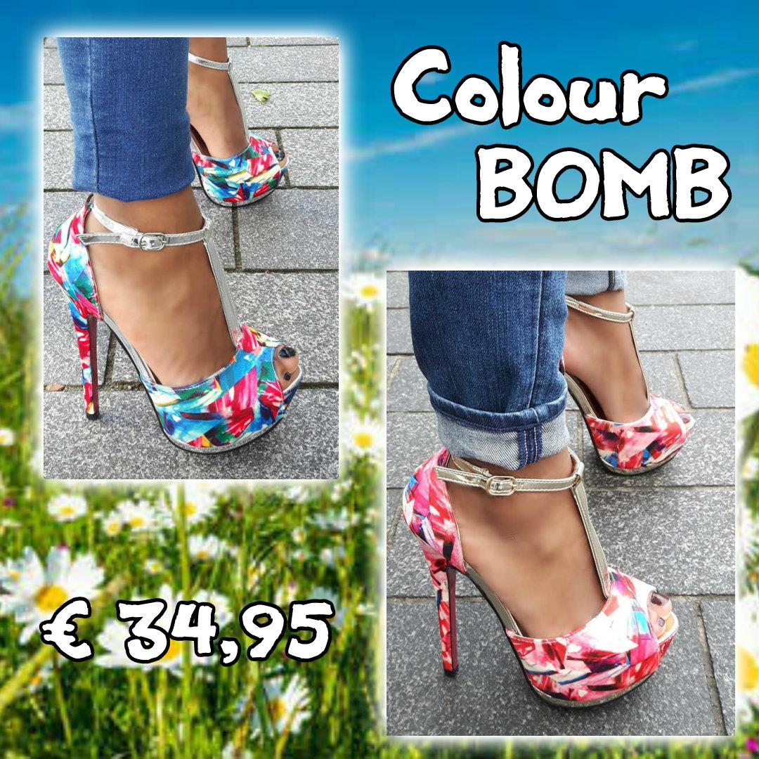 colour bomb plateau sandalen