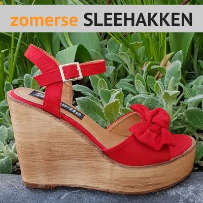 Rode sleehakken - Zomerse sleehakken - Sandalen met Sleehak - SILHOUETTE