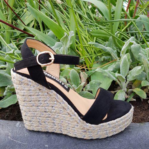 Zwarte sleehakken met touwzool kleine schoenmaat | Kleine maat sleehak