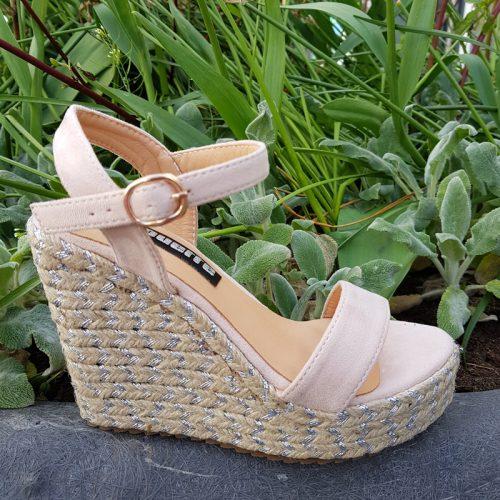 Nude sleehakken met touwzool kleine schoenmaat | Kleine maat sleehak