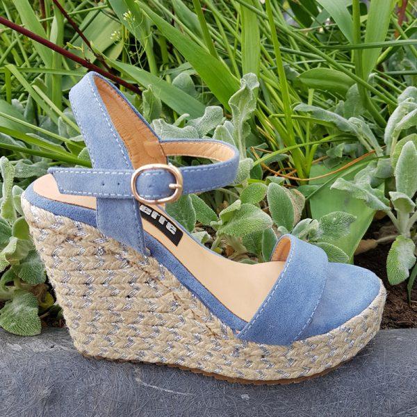 Blauwe sleehakken met touwzool kleine schoenmaat | Kleine maat sleehak