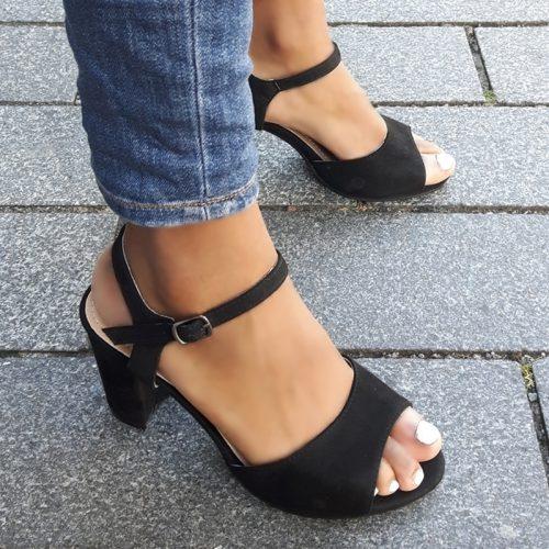 Zwarte sandalen met blokhak van 8 cm | Zwarte sandaaltjes met open teen