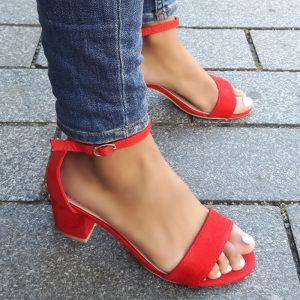 Rode sandalen met hak van 5 cm en enkelbandje | Silhouette