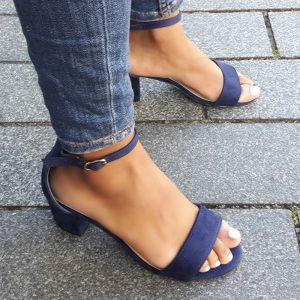 Sandalen met 5 cm hak donkerblauw | Donker blauwe sandalen blokhak