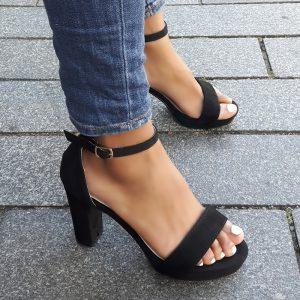 Zwarte sandalen met hak bredere voet | Sandalen voor brede voeten