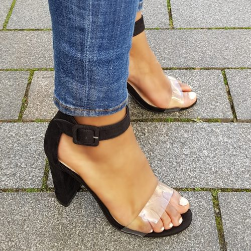 Zwarte blokhakken met doorzichtig bandje over de tenen | Silhouette