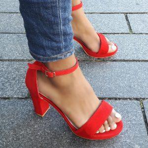 Hippe sandalen met hak bredere voet | Rode sandalen voor brede voeten