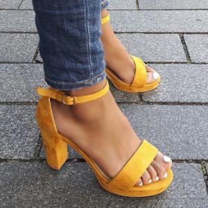 Sandalen met hak okergeel ♥ Okergele sandalen online kopen | Silhouette