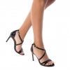 Zwarte dames sandaal met hak XTI en kruisbanden | Silhouette Rotterdam