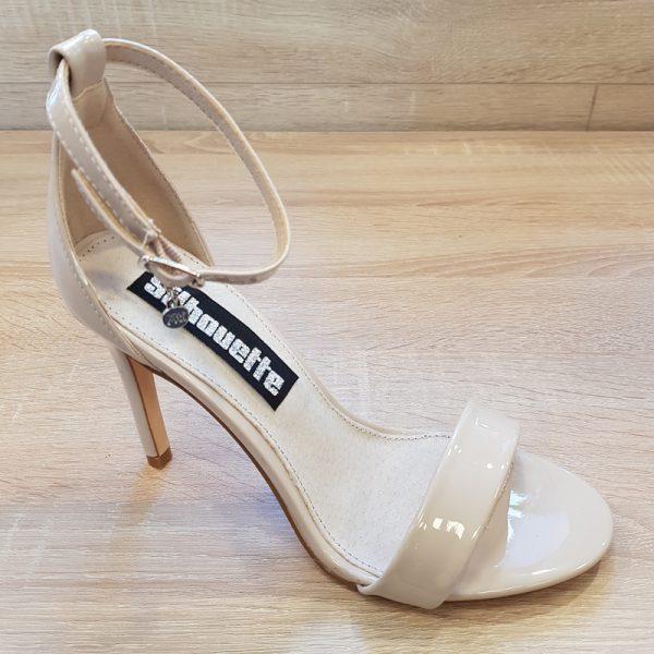 Beige sandaal met hoge hak en smalle bandjes | XTI beige sandaal hak