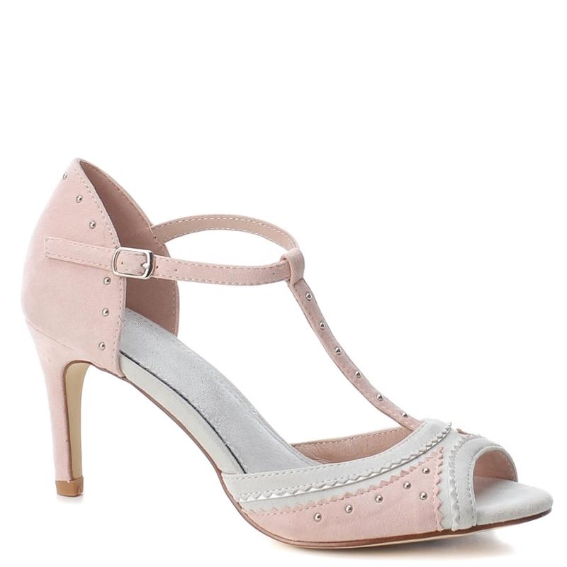 Roze Mary Jane sandaaltje met hak | Roze pumps met T-bandje en hak | Roze sandaaltje 7 cm hak