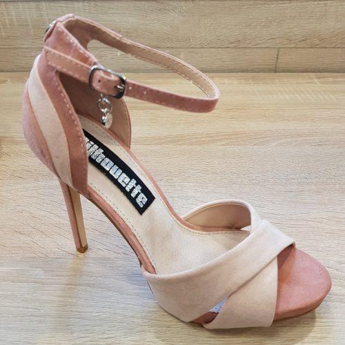 Dames sandalen met hak in oud roze met nude | Hakken in oud roze nude