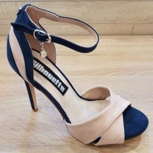 Dames sandalen met hak in donkerblauw met nude   Blauwe sandalen hak