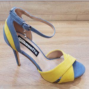 Dames sandalen met hak in geel met blauw | Gele Blauwe sandalen hak