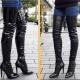 Hoge extra lange overknee laarzen met hoge hakken | Overknee laarzen voor hele smalle benen | Overkneelaarzen voor dikke kuiten