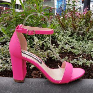 Neon roze sandalen met blokhak | Roze neon blokhak sandalen
