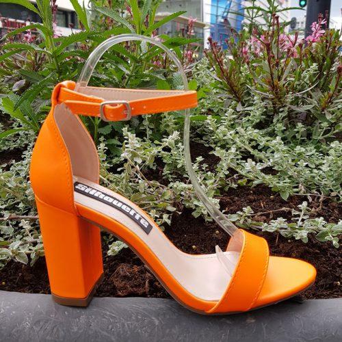 Neon oranje sandalen met blokhak | Oranje neon blokhak sandalen