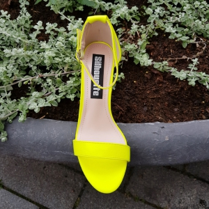 Neon gele sandalen met blokhak | Gele neon blokhak sandalen