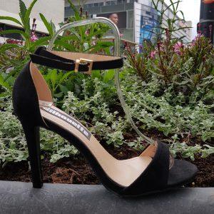 Sandalen met hoge hak zwart | Sandaaltjes met hoge hak en enkelbandje
