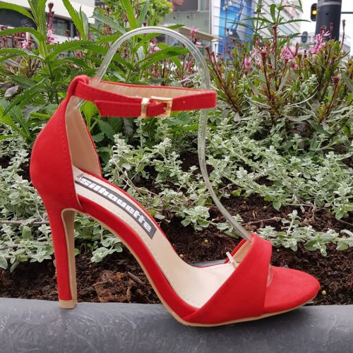 Sandalen met hoge hak rood | Sandaaltjes met hoge hak en enkelbandje