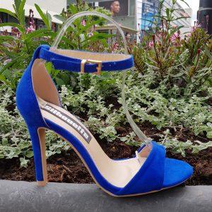 Sandalen met hoge hak blauw | Sandaaltjes met hoge hak en enkelbandje