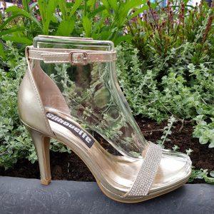 Gouden sandaal steentjes en naaldhak | Gala sandaal goud met strass