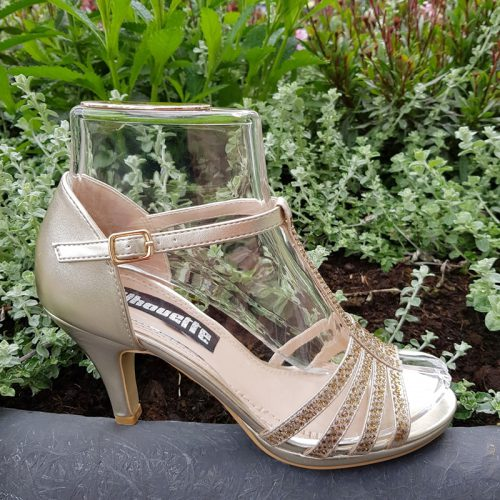 Gouden T-band sandaal steentjes en naaldhak | Mary Jane sandaal goud