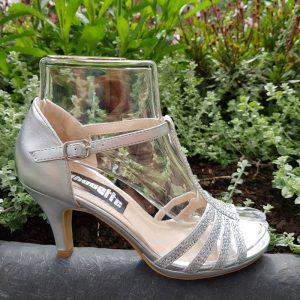 Zilveren T-band sandaal steentjes en naaldhak | Mary Jane sandaal zilver