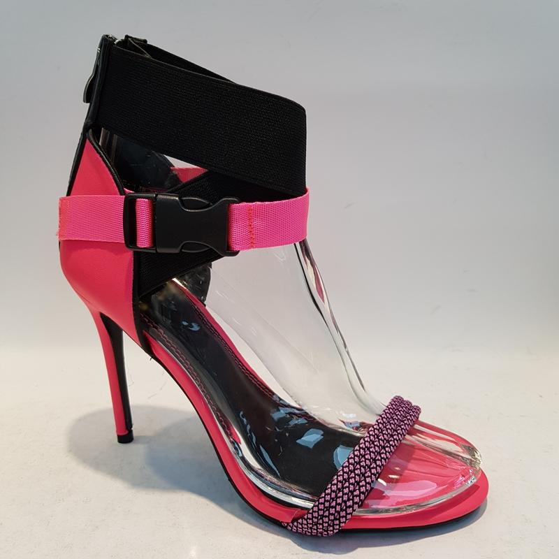 Neon roze sandalen met hoge hakken   Stiletto hakken neon roze zwart