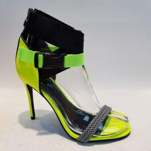 Neon gele sandalen met hoge hakken | Stiletto hakken neon geel zwart