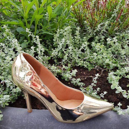 Gouden metallic pumps met 8cm naaldhak | Glimmende pumps goud