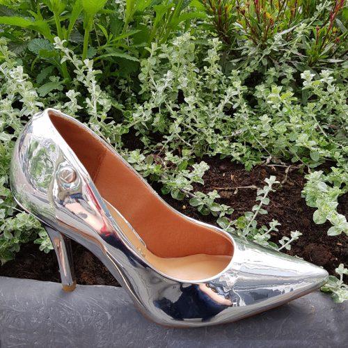 Zilveren metallic pumps met 8cm naaldhak | Glimmende zilveren pumps
