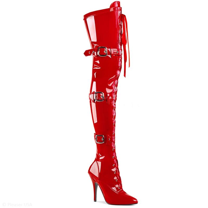 Rode overknee stretchlaars met veters, gespen en naaldhakken